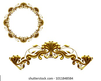 """ornamental segment, """"one half"""", round version for ninety degree angle corners or frames. 3D illustration, separated on white"""