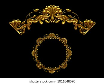 """ornamental segment, """"one half"""", round version for ninety degree angle corners or frames. 3D illustration, separated on black"""