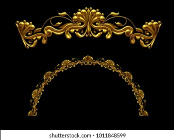 """ornamental segment, """"one half"""", round version for fourty five degree angle corners or frames. 3D illustration, separated on black"""