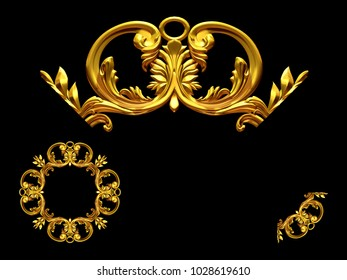 """ornamental segment, """"scroll"""", round version for ninety degree angle corners or frames. 3D illustration, separated on black"""