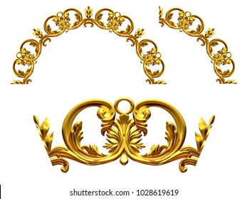 "ornamental segment, ""scroll"", round version for fourty five degree angle corners or frames. 3D illustration, separated on white"