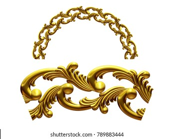 """ornamental segment, """"sea"""", round version for fourty five degree angle corners or frames. 3D illustration, separated on white"""
