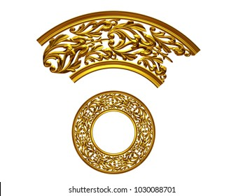 """ornamental segment, """"tends"""", round version for ninety degree angle corners or frames. 3D illustration, separated on white"""