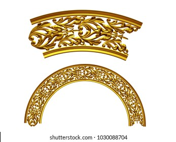 """ornamental segment, """"tends"""", round version for fourty five degree angle corners or frames. 3D illustration, separated on white"""