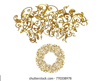 """ornamental segment, """"wild"""", round version for ninety degree angle corners or frames. 3D illustration, separated on black"""