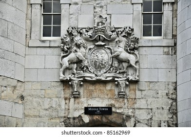 Ornamental stone engraved crest. Close-up from Tower, London.