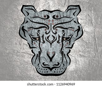 Ornamental tattoo cougar head. Abstract hand drawn style