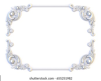 Ornamental vintage frames. Floral design template. Page decoration. Birthday card, wedding invitations. 3d rendering
