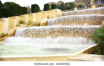Ornamental waterfall in the Montjuic gardens of Barcelona, Catalunya, Spain, Europe