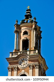 ornamented church tower of baroque herzogenburg monastery