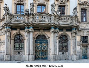 Ornamented door on the old university in Wroclaw, Poland
