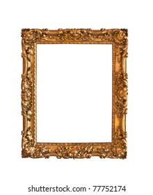 Ornamented, very old, gold plated empty picture frame for putting your pictures in