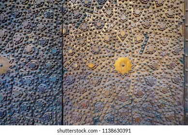 Ornaments of the bronze-plate door at Al Sultan Hasan Mosque, historic public mosque located in Cairo, Egypt