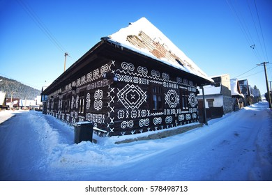 The ornaments from Cicmany in winter, a slovak folk pattern. The old wooden house painted ornament. The village Cicmany with the painted wooden houses is on the list of UNESCO
