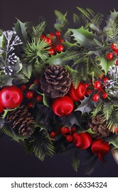 Ornaments, mistletoe and balls to print greeting cards for Christmas