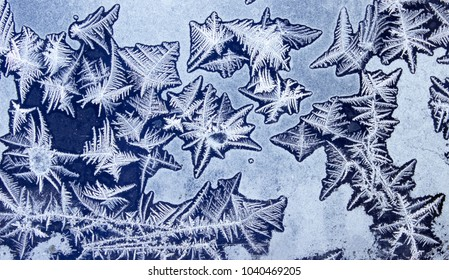 Ornaments on a frozen window on like starfish. Frozen water on the window creates silver beautiful odecoration ornaments.