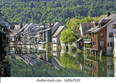 Ornans and the Loue river,  the Franche-Comte region of eastern France