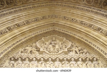 Ornate archway, Westminster abbey, London.