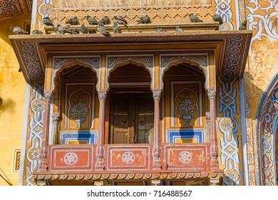 An ornate balcony at the Naqqar Darwaza Gate in Jaipur, India.