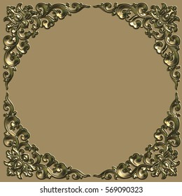 Ornate battered empty picture frame.