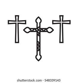 Ornate christian cross art illustration set