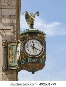 Ornate clock in Chicago, a gift in the early 1920s to the Jeweler's Association. Sculpture is Father Time. Artist unknown.