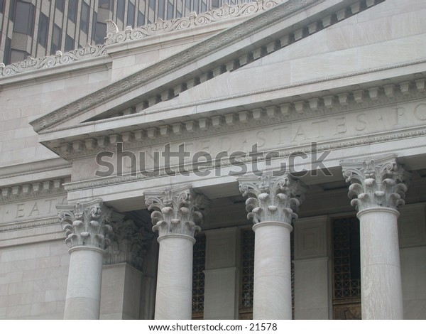 The ornate columns on a United Stated post office in downtown New Haven, CT.