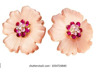 ornate costume jewelry flower gem stone earrings