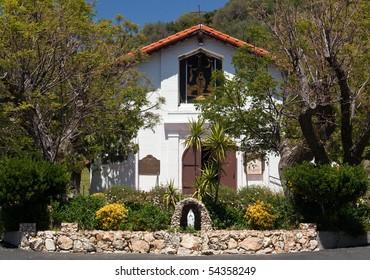 Ornate desert garden outside the Ysabel Chapel near San Diego