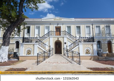 Ornate entrance to Legislature of US Virgin Islands in Charlotte Amalie, which governs the US Virgin Islands