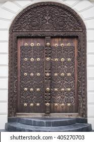 Ornate entry door in Stone Town Zanzibar