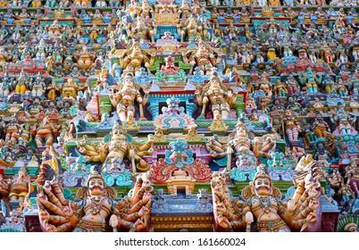 Ornate facade of Hindu sri meenakshi temple, madurai, india