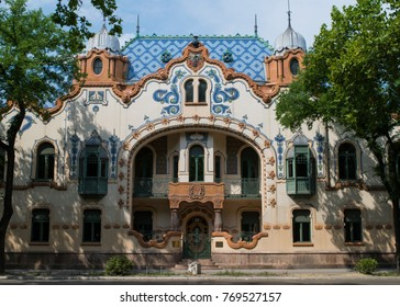 Ornate Facade of the Raichle Palace in the city of Subotica, Serbia