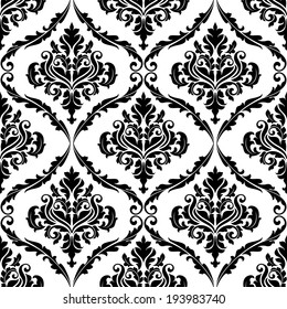 Ornate floral arabesque decorative seamless pattern with each motif in a foliate frame suitable for textiles and damask style fabric. Vector version also available in gallery