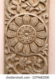 Ornate floral wood carving
