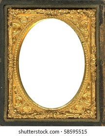 Ornate gold metal picture frame from the 1850s. This style frame was commonly used with Daguerreotypes, Ambrotypes and Tintypes.  In use 1840's-1860s (Victorian Era). Image contains Clipping Path.