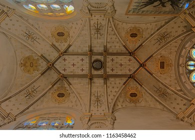 Ornate gothic ceiling of the chapel of the castle of chantilly,Oise, France
