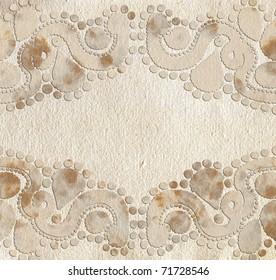 Ornate grunge paper frame (beige vintage greetings)