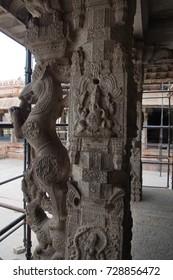 Ornate horses decorate outer columns of Virupaksha Vishnu Temple, Vijayanagar,Karnataka, India