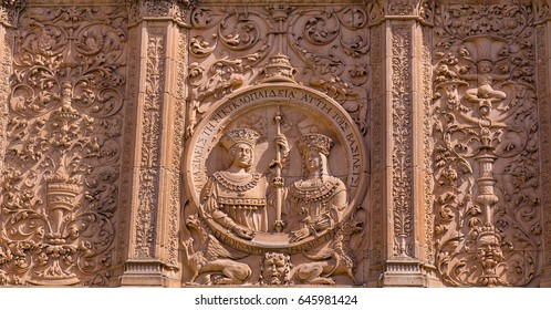 Ornate Medallion of the Catholic Monarchs King Ferdinand and Queen Isabel,  on the facade of the main entrance to Cathedral Nueva Salamanca Spain.
