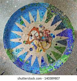ornate mosaic ceiling sun park Guell in Barcelona - Spain