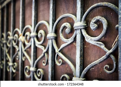 ornate old fence - close up