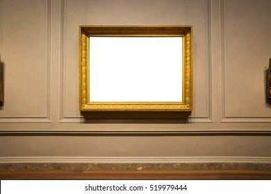 Ornate Picture Frame Art Gallery Museum Ausstellung Interieur White Clipping Path einzeln