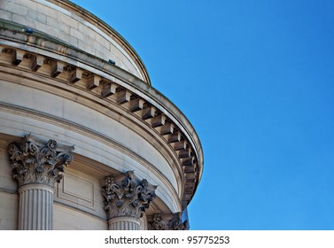 Ornate sandstone columns on government building