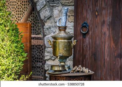 Ornate silver samovar made as water source Russian souvenir. Tea Russian samovar. Azerbaijan Samovars from Russia. Russian traditional tea samovars.Vintage metal tea pot