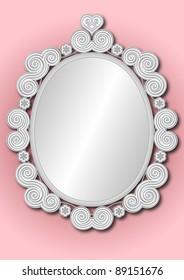 ornate silver white framed mirror on pink background