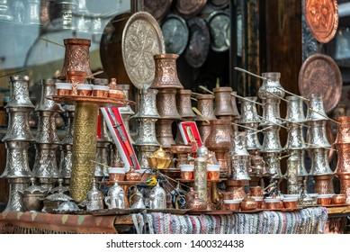 Ornate souvenirs for sale in a bazaar in Sarajevo, Bosnia