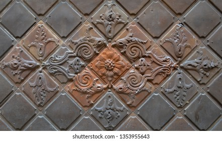ornate stone tiles with relief pattern in the gothic quarter of Barcelona, Spain