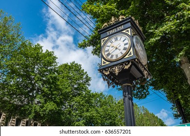 Ornate street clock on Rustaveli Avenue in Tbilisi, Georgia, Eastern Europe.
