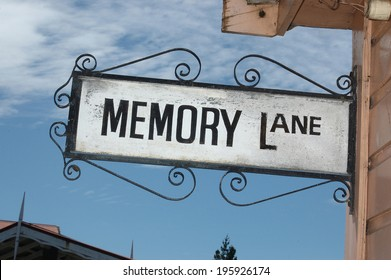 ornate street sign for Memory Lane, Shantytown, Westland, New Zealand